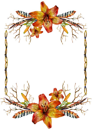 tiger lily: Watercolor Tiger lily vertical frame of feathers, branches and wild herbs. Isolated on white background Illustration