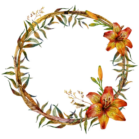 tiger lily: Watercolor Tiger lily round frame of feathers, branches and wild herbs. Isolated on white background