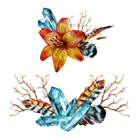 tiger lily: Watercolor Tiger lily bouquet of feathers, branches and blue gems. Isolated on white background