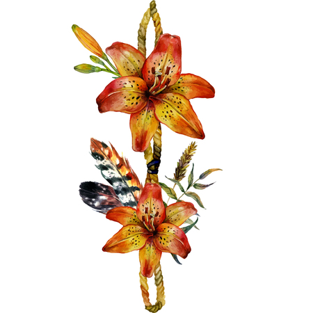tiger lily: Watercolor Tiger lily decorative border of feathers, branches and wild herbs. Isolated on white background Illustration