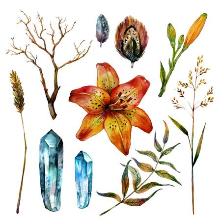 gypsy: Watercolor boho elements. Isolated on white background. For gypsy, shabby, boho design