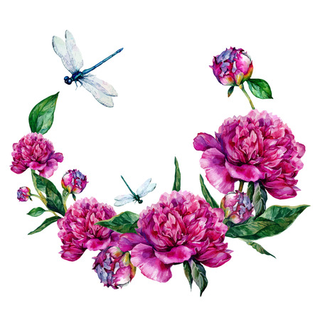 Pink Round Frame Watercolor Peonies, Vintage Greeting Card, Nature Watercolor Illustration. Иллюстрация