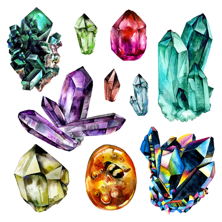 Watercolor Gems collection. Semiprecious crystals.  illustration isolated on white background