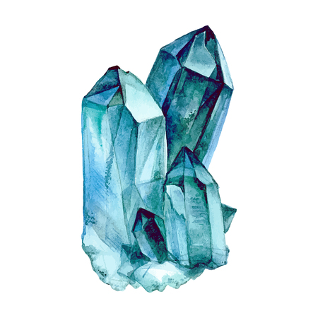 semiprecious: Watercolor Aquamarine. Semiprecious crystal. illustration