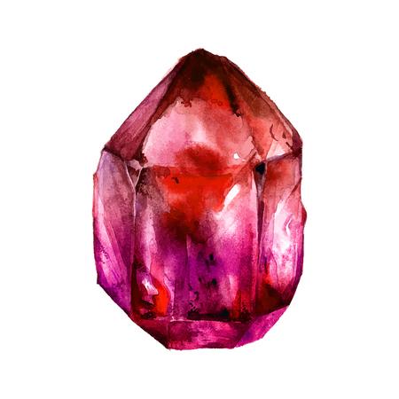 Aquarelle Tourmaline. cristal Semiprecious. illustration
