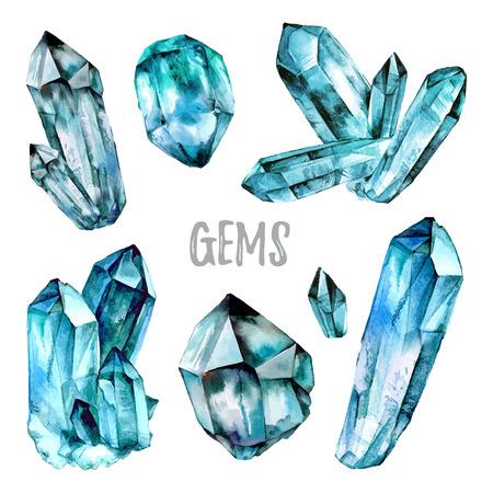 Watercolor Gems collectie. Halfedelstenen kristallen. illustratie op een witte achtergrond