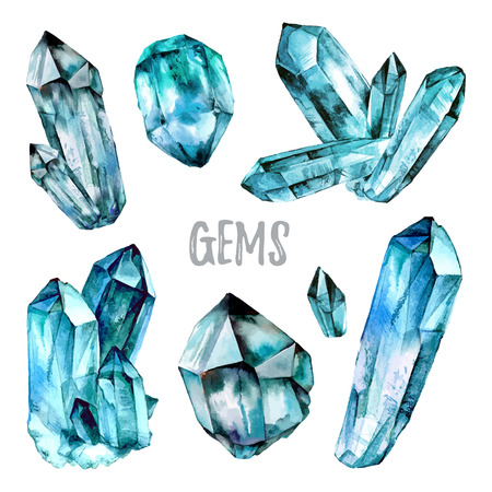 semiprecious: Watercolor Gems collection. Semiprecious crystals.  illustration isolated on white background