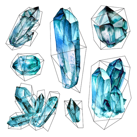 Watercolor Geometric Gems collection. Semiprecious crystals.  illustration in Trendy hipster retro style isolated on white background