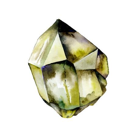 quartz crystal: Watercolor Quartz. Semiprecious crystal. Illustration