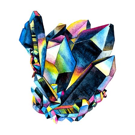 Watercolor Titanium Quartz. Semiprecious crystal.