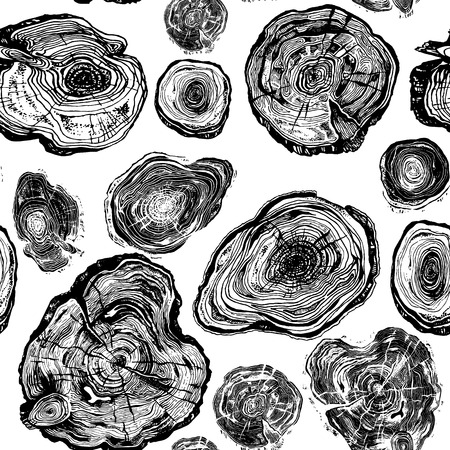Hand drawn seamless pattern of wood saw cuts. Highly detailed ink art collection in engraved style