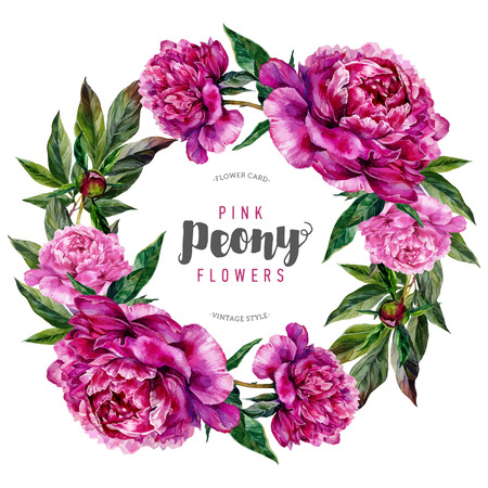 Hand drawn watercolor floral wreath with pink peonies and green leaves. Botanical illustration in trendy vintage style. Zdjęcie Seryjne - 64763518