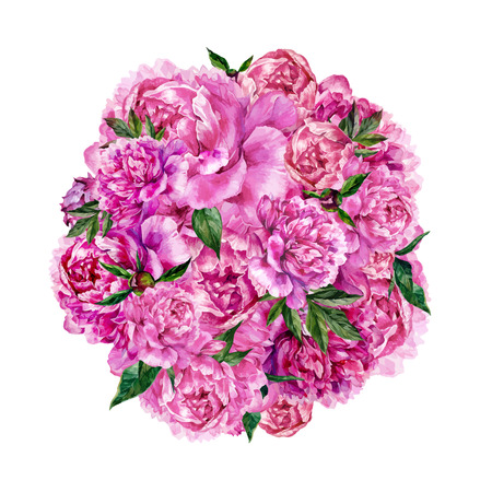 Hand drawn watercolor round composition made of pink peonies and green leaves. Botanical illustration in trendy vintage style.