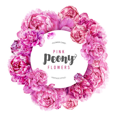 Hand drawn watercolor round composition with pink peonies. Botanical illustration in trendy vintage style.