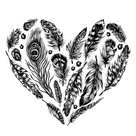 Hand drawn ink rustic design vector elements. Heart made of feathers and beads in trendy bohemian style. Vintage, boho, tribal rustic set. Highly detailed ink art in engraved style