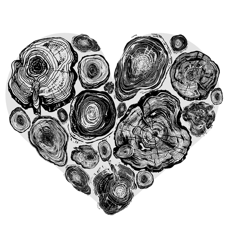 rings on a tree cut: Hand drawn ink rustic design vector elements. Heart made of wood slices in trendy rural style. Vintage, boho, tribal rustic set. Highly detailed ink art in engraved style