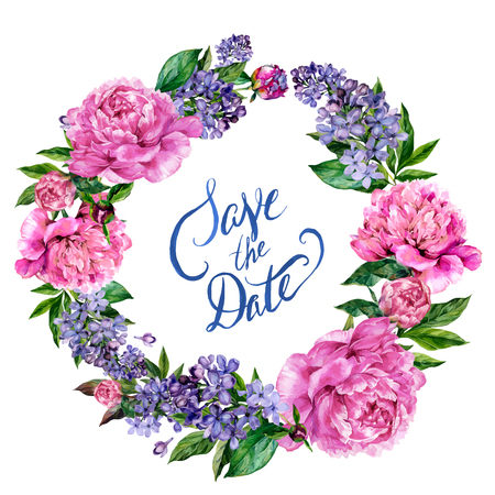 Watercolor peonies and lilac wreath isolated on white background with Save the Date lettering. Hand drawn illustration in vintage style Stock Illustratie