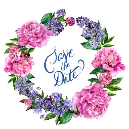 Watercolor pioenen en lila krans op een witte achtergrond met sparen de belettering van de Datum. Hand getrokken illustratie in vintage stijl