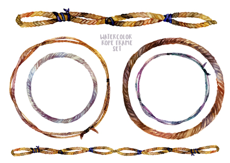 braided: Watercolor Boho Chic design elements. Hand drawn collection of decorative frames, borders and wreath bases made of braided ropes isolated on white. Illustration in trendy vintage style.