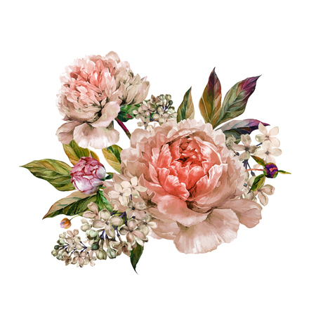 Vintage floral bouquet of light rose peonies and white lilac. Hand drawn watercolor botanical illustration isolated on white background. Summer floral peonies greeting card Иллюстрация