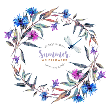 Hand drawn watercolor wildflower wreath with cornflowers, bells, thistles, willow leaves and dragonfly isolated on white background. Realistic illustration in trendy vintage style. Vettoriali