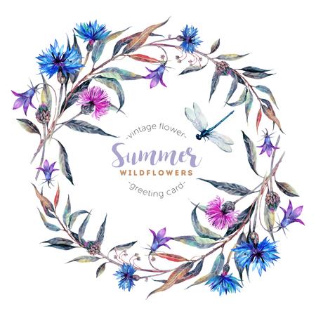 Hand getekende aquarel wildflower krans met korenbloemen, klokken, distels, wilg bladeren en libelle op een witte achtergrond. Realistische illustratie in trendy vintage stijl. Vector Illustratie