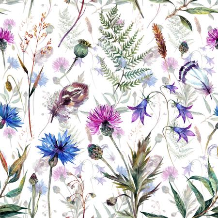 Hand getekende aquarel zomerwildflowers patroon zoals korenbloem, distel, wilgentak, klok en veren op een witte achtergrond. Realistische illustratie in trendy vintage stijl.