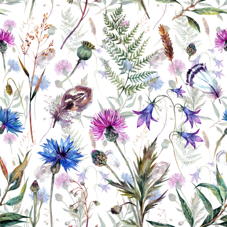 Hand drawn watercolor summer wildflowers pattern including cornflower, thistle, willow branch, bell and feathers isolated on white background. Realistic illustration in trendy vintage style.