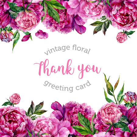 Vintage waterverf bloemenhuwelijksuitnodiging met hand getrokken pioenrozen en groene bladeren, botanische natuurlijke pioenen Illustration. Zomer bloemen pioenen wenskaart