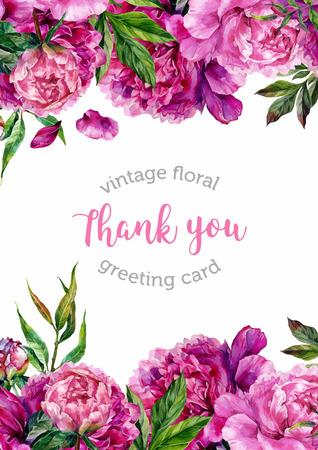 acquarello Vintage invito di nozze floreale con peonie disegnati a mano e foglie verdi, botanico peonie naturali Illustrazione. Estate peonie floreali biglietto di auguri Vettoriali