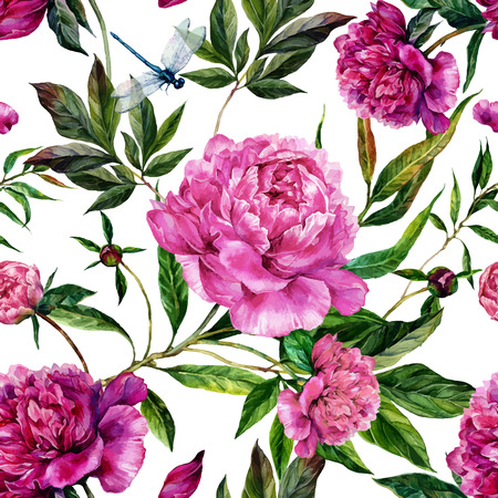 Summer seamless watercolor pattern. Hand drawn pink peonies, green leaves and dragonflies on white background. Realistic illustration in trendy vintage style. Shabby chic
