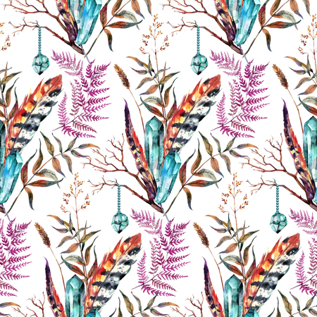 gypsy: Watercolor Boho Chic design elements. Hand drawn seamless pattern made of pheasant feathers, magic crystals, and wild herbs. Vintage, boho, tribal, gypsy, rustic set. Illustration in vintage style. Illustration