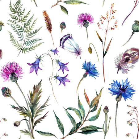 Hand drawn watercolor summer wildflowers pattern including cornflower, thistle, willow branch, bell and feathers isolated on white background. Realistic botanical illustration in trendy vintage style. Иллюстрация