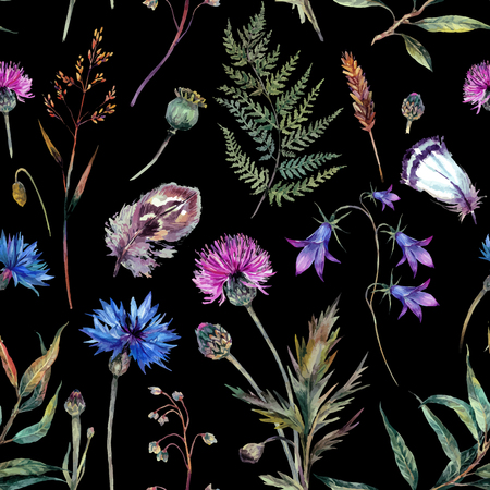 Hand drawn watercolor summer wildflowers pattern including cornflower, thistle, willow branch, bell and feathers isolated on black background. Realistic illustration in trendy vintage style. Stock Illustratie