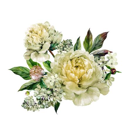 Vintage floral boeket van witte pioenen en witte lila. Hand getekende aquarel botanische illustratie. Zomer bloemen pioenen wenskaart