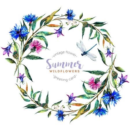ヤグルマギク、鐘、アザミ、柳の葉、白い背景で隔離のトンボと手描き水彩ワイルドフラワー花輪。トレンディなビンテージ スタイルのリアルなイ  イラスト・ベクター素材