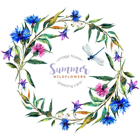 Hand drawn watercolor wildflower wreath with cornflowers, bells, thistles, willow leaves and dragonfly isolated on white background. Realistic illustration in trendy vintage style. Stock Illustratie