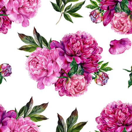 Hand drawn pink peonies bouquet seamless pattern on white background. Realistic illustration in trendy vintage style.