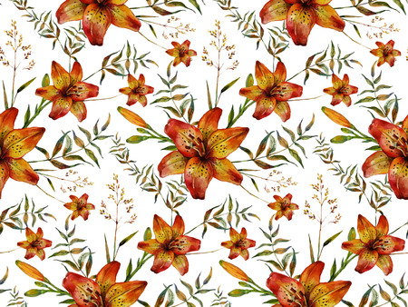 lilium: Watercolor Boho Chic design elements. Hand drawn seamless pattern made of tiger lilies and wild herbs. Vintage, boho, tribal, gypsy, rustic set. Botanical illustration in trendy vintage style. Illustration