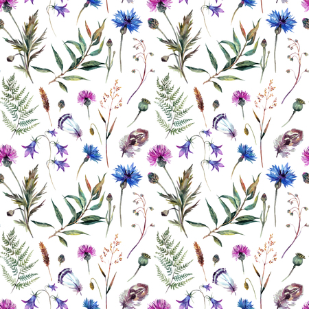 Hand drawn watercolor summer wildflowers pattern including cornflower, thistle, willow branch, bell and feathers isolated on white background. Realistic botanical illustration in trendy vintage style. Çizim