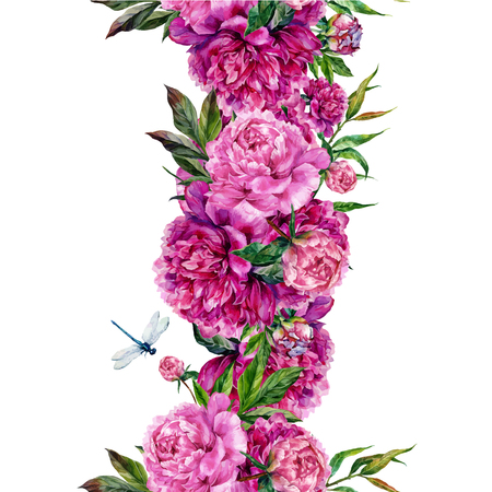 Watercolor floral seamless border. Bouquet of pink peonies and green leaves with dragonfly. Watercolor botanical illustration in trendy vintage style. Shabby chic design
