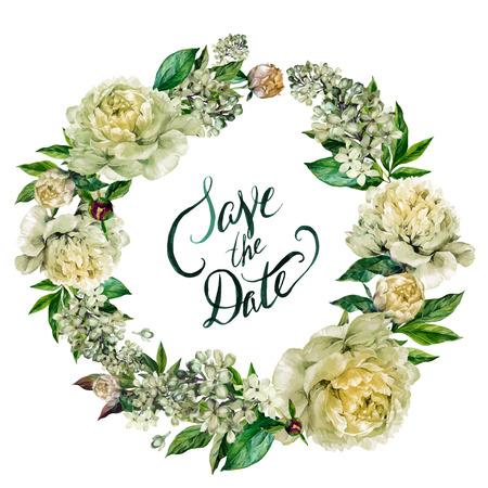 水彩白牡丹とライラックの花輪と白い背景で隔離の日付の文字を保存します。ビンテージ スタイルで描かれたイラストを手します。  イラスト・ベクター素材