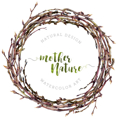 Watercolor Boho wreath made of dry twigs and bare osier branches isolated on white. Natural decoration. Wooden sticks garland. Christmas chaplet made of vine. Pussy-willow round frame. Vintage style.