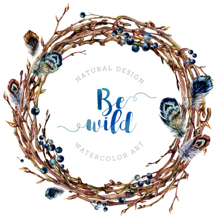 Watercolor Boho wreath made of dry twigs, osier branches, berries and feathers isolated on white. Natural decoration. Wooden sticks garland. Christmas vine chaplet. Pussy-willow frame. Vintage style. Иллюстрация