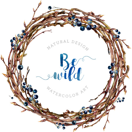 Watercolor Boho wreath made of dry twigs, bare osier branches, berries isolated on white. Natural decoration. Wooden sticks garland. Christmas vine chaplet. Pussy-willow frame. Vintage style.
