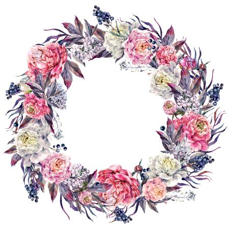 Aquarel bloemen krans gemaakt van weelderige pioenrozen, witte lila, bladeren en liguster bessen, geïsoleerd op een witte achtergrond. Vintage stijl bruiloft decoratie.