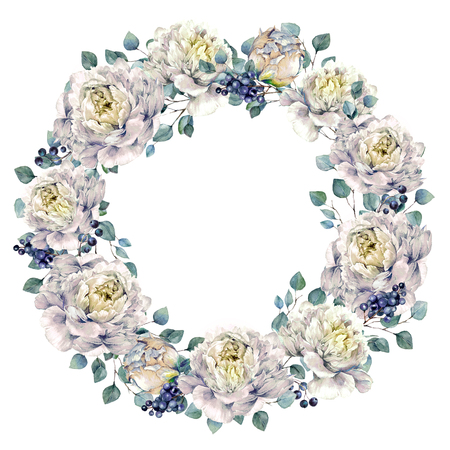 Aquarel bloemen krans gemaakt van weelderige witte pioenrozen, Silver Eucalyptus en liguster bessen, geïsoleerd op een witte achtergrond. Vintage stijl bruiloft decoratie.