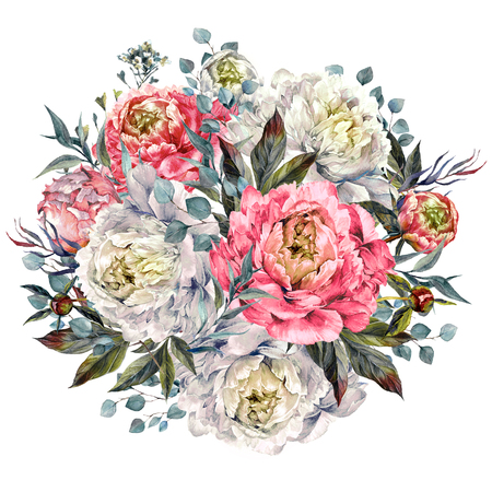 Watercolor Round Bouquet Made of Pink and White Peonies, Foliage and Silver Eucalyptus, Isolated on White Background. Vintage Style Wedding Decoration. Фото со стока