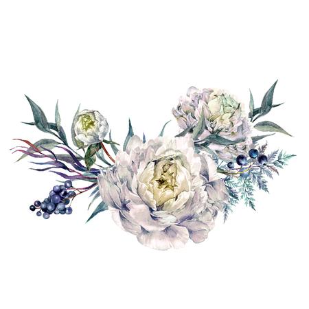 Aquarel boeket gemaakt van bloeiende witte pioenrozen, liguster bessen en gebladerte. Romantisch voorjaars bloemstuk. Vintage bruiloft decoratie geïsoleerd op wit.