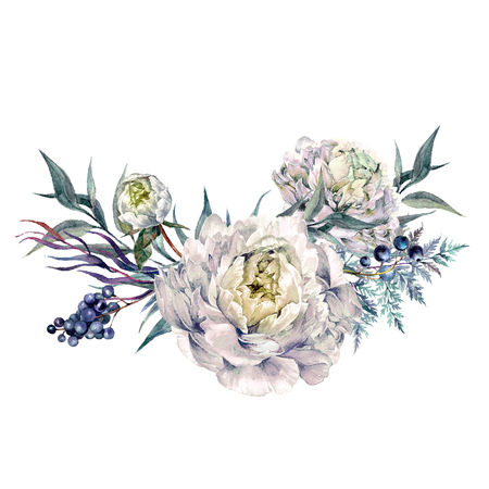 Watercolor Bouquet made of Blooming White Peonies, Privet Berries and Foliage. Romantic Spring Flower Arrangement. Vintage Wedding Decoration Isolated on White. Фото со стока
